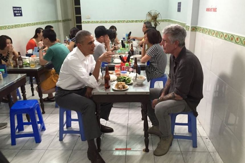 Low plastic stools, cheap but delicious noodles and cold Hanoi beer for US President Barack Obama and celebrity chef Anthony Bourdain.