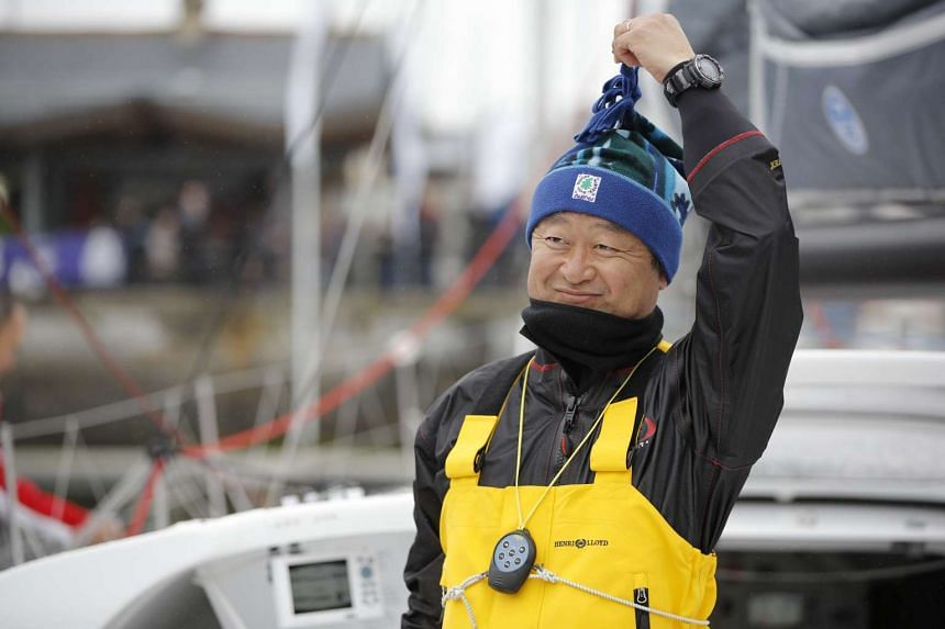 Japanese adventurer Hiroshi Kitada preparing to set off at the start of the Transat Bakerly solo transatlantic yacht race.