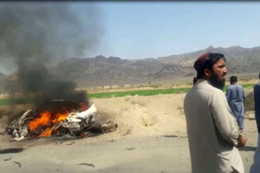 A screen grab from a video of the alleged drone strike site in Pakistan's Baluchistan province.