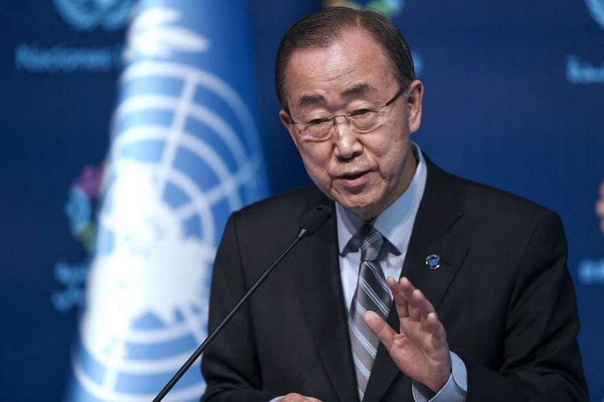 UN secretary general Ban Ki Moon gestures during a press conference on May 24, 2016, in Istanbul during the World Humanitarian Summit.