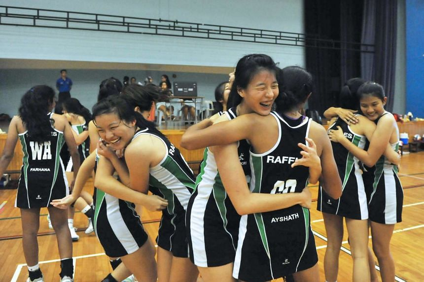 The Raffles Institution netball team celebrating after they won the National Schools A Division championship, on May 26, 2016.