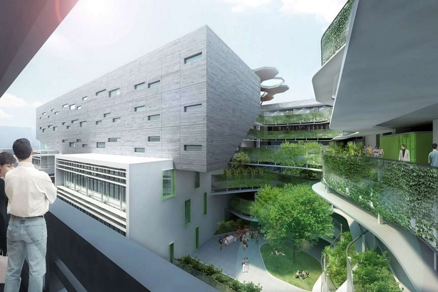 An artist's impression of NTU's upcoming NTU's upcoming Academic Block North at the Novena Campus.