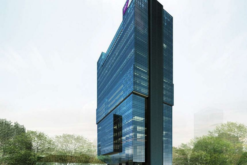 An artist's impression of NTU's upcoming 20-storey Clinical Sciences Building at the Novena Campus.