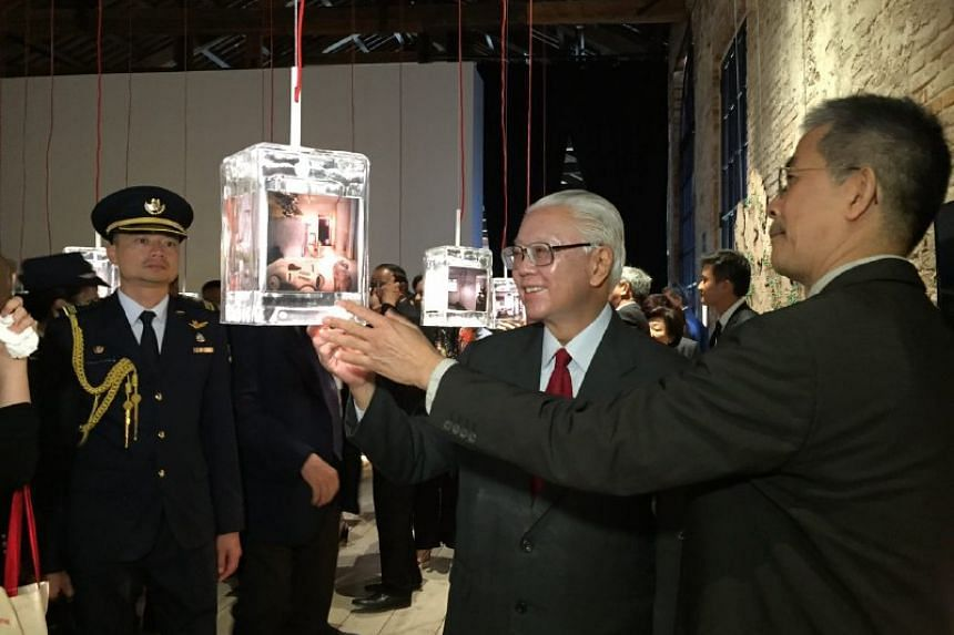 President Tony Tan tours the Singapore Pavillion at the Arsenale in Venice on May 26, 2016.
