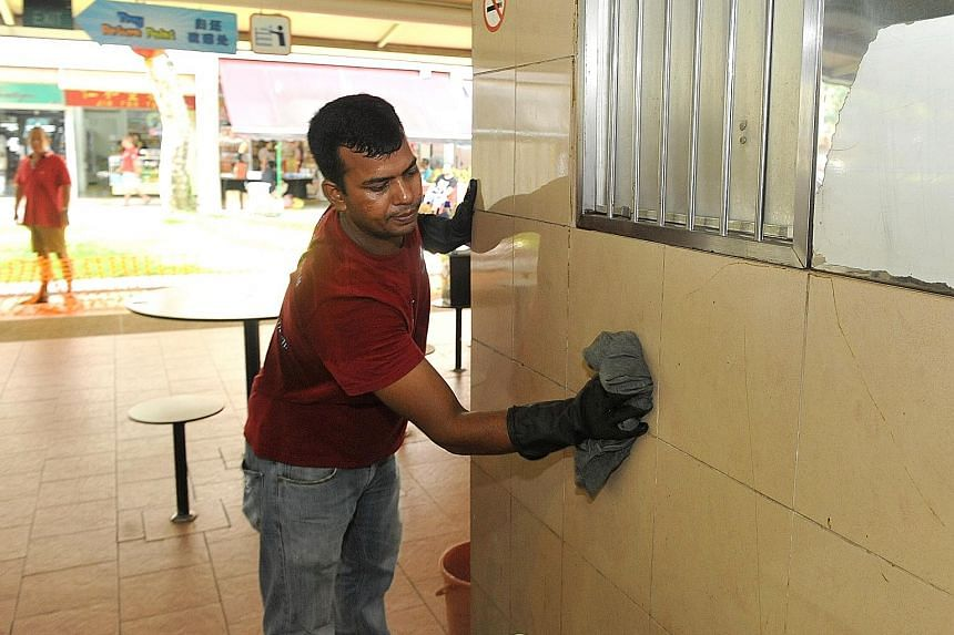 Cleaners were scrubbing the walls and giving the steam treatment yesterday at Pek Kio Market and Food Centre, which has been closed for two days. Hawkers were washing their utensils, crockery and stall floors.