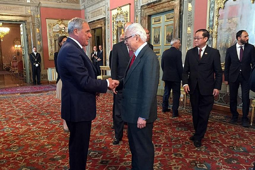 Dr Tan being received by President of the Italian Senate Pietro Grasso at the Palazzo Giustiniani yesterday afternoon. It was the last of Dr Tan's official engagements over the past four days in Rome.
