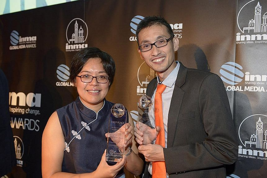 ST business editor Lee Su Shyan and Mr Jerry Siah, head of operations in SPH's marketing division, at the Inma Global Media Awards ceremony held at London's Victoria and Albert Museum on Tuesday night.