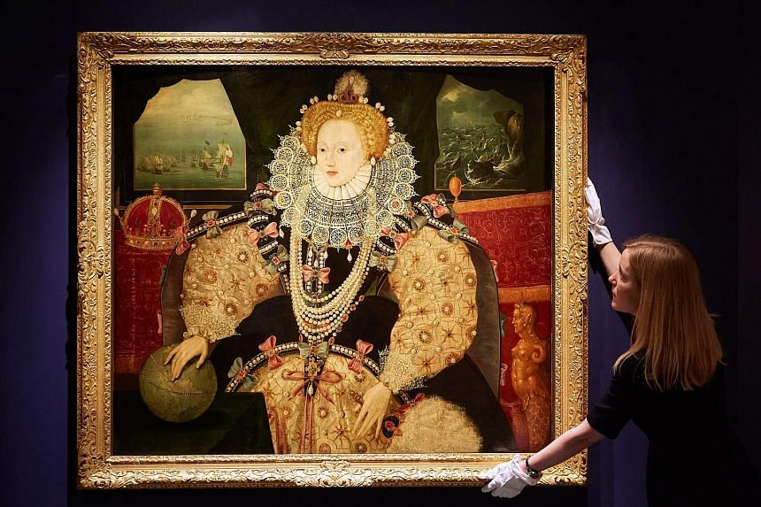 The Armada Portrait on display at the National Maritime Museum on Monday. The painting was done to commemorate England's victory over the Spanish fleet in 1588.