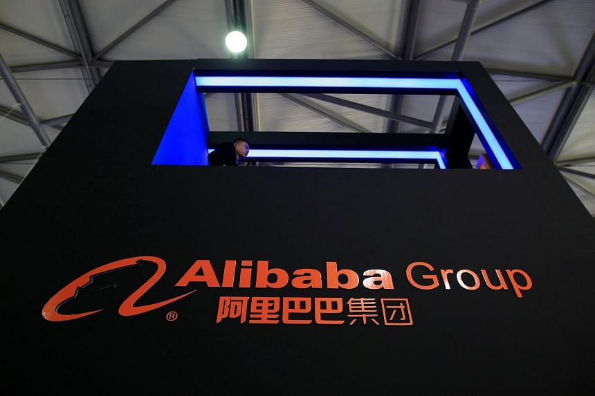 A sign of Alibaba Group is seen at CES (Consumer Electronics Show) Asia 2016 in Shanghai.