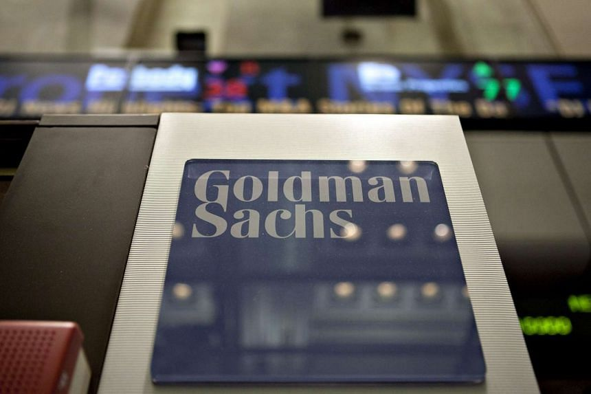 A Goldman Sachs logo on the floor of the New York Stock Exchange.