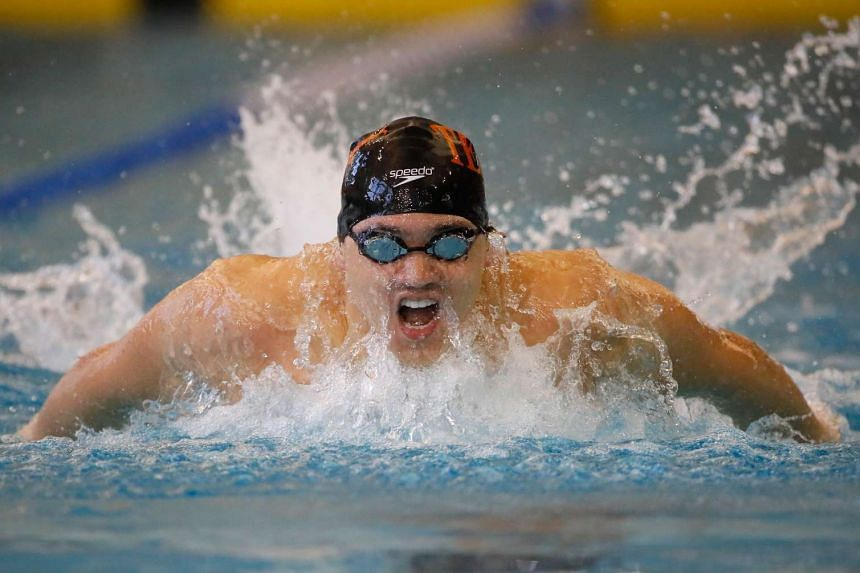 Joseph Schooling competes in the men's 200m butterfly finals in the Atlanta Classic Swim Meet at Georgia Tech Aquatic Centre on May 14, 2016.