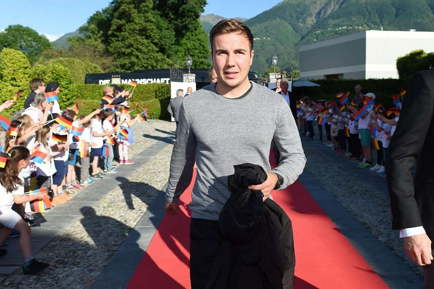 German national football player Mario Goetze arrives in Ascona, Southern Switzerland, on May 24, 2016.