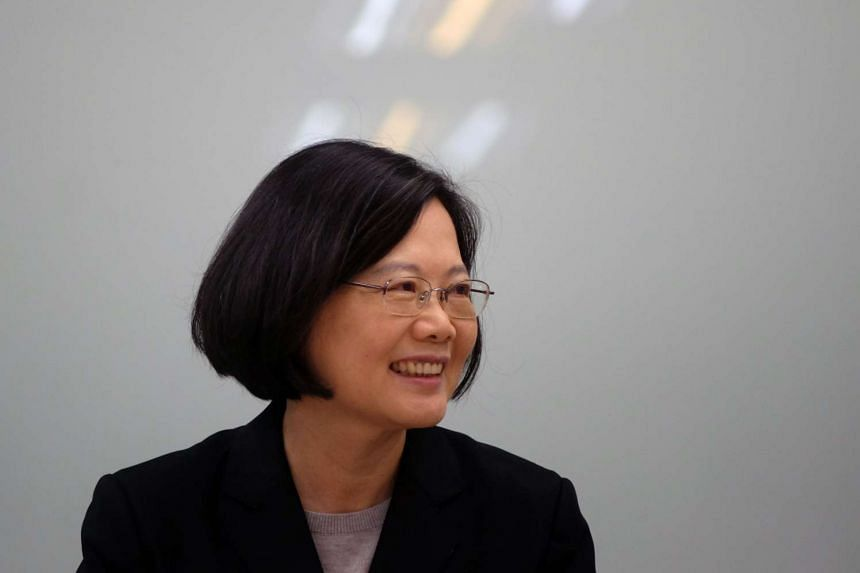 Taiwan President Tsai Ing-wen smiling during a press conference in Taipei, on April 22, 2016.