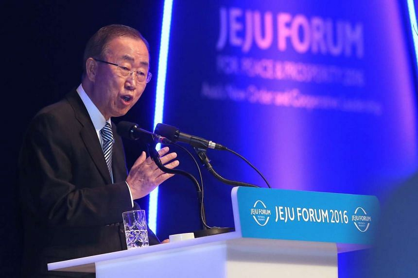 UN Secretary-General Ban Ki Moon speaks at the opening ceremony of a forum on Jeju island, South Korea, on May 26, 2016.