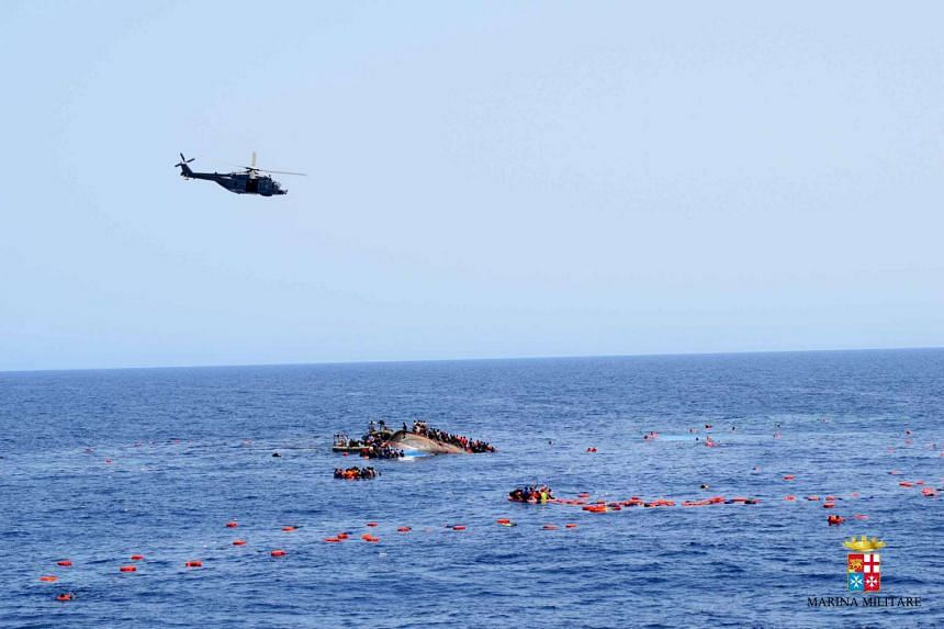 The shipwrecked boat carrying migrants off the Libyan coast, on May 25, 2016.