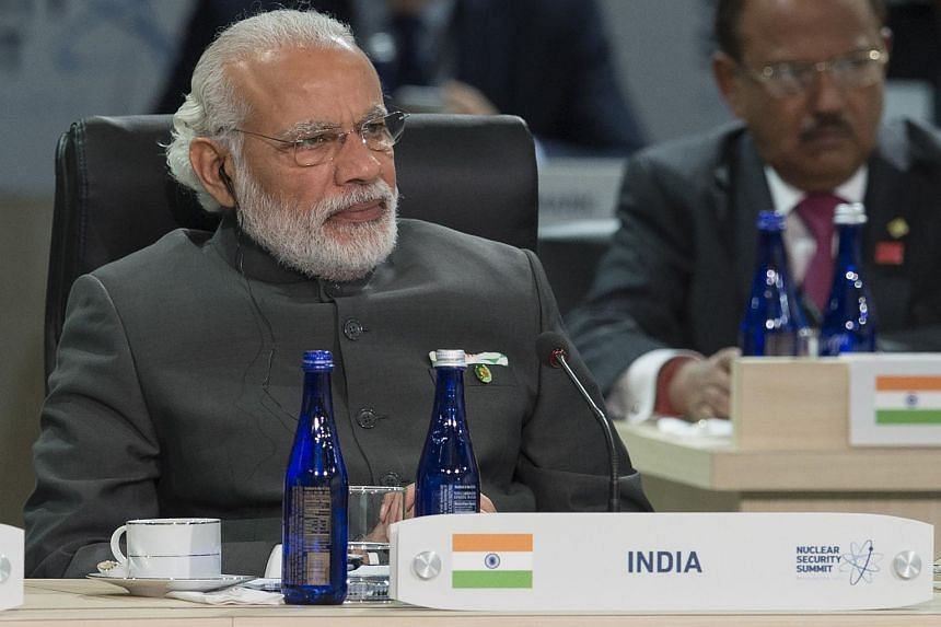Indian Prime Minister Narendra Modi attends a plenary session during the 2016 Nuclear Security Summit at the Washington Convention Center in Washington, DC, Apr 1, 2016.