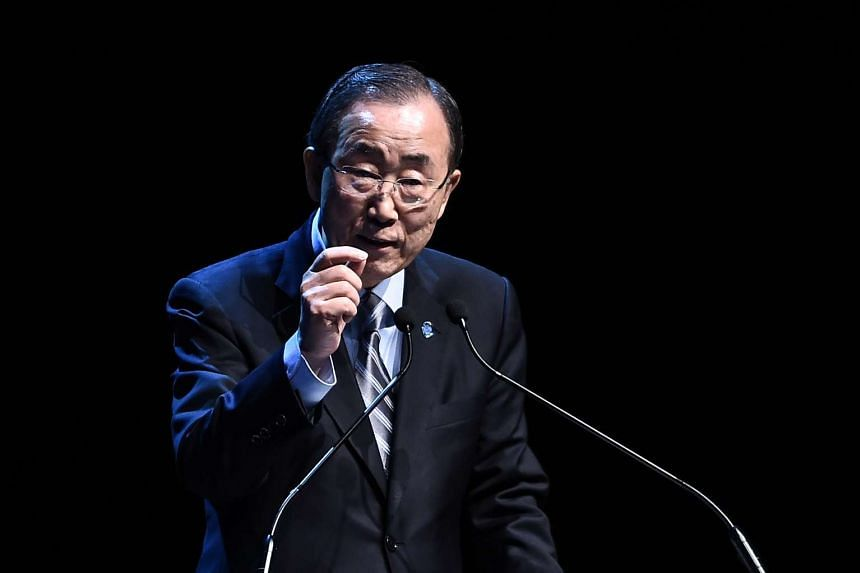 UN secretary general Ban Ki Moon gestures during a press conference on May 24, 2016 during the World Humanitarian Summit.