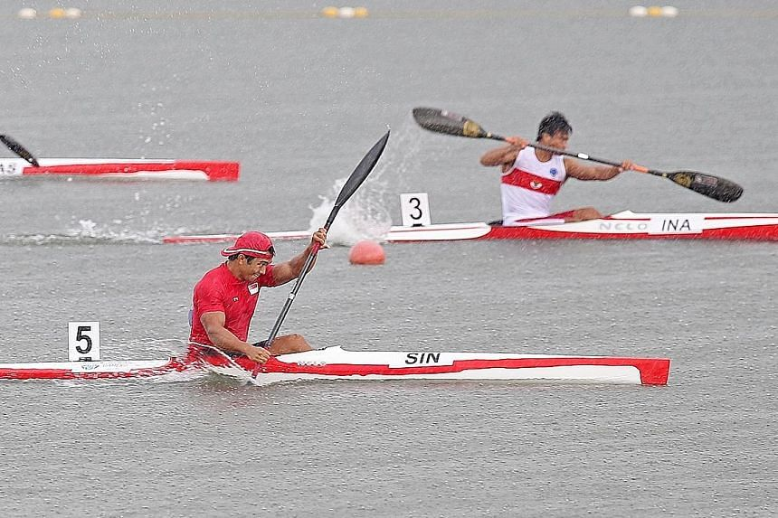 Singapore canoeist Mervyn Toh competing in the SEA Games men's K1 200m race last year, winning a gold medal in the event. He has been nominated for the Sportsman of the Year in this year's Singapore Sports Awards.