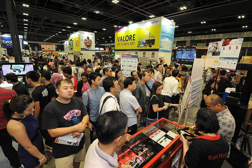 Thousands flocked to the Consumer Electronics Exhibition yesterday in search of a good deal on laptops, printers, smartphones, games and gaming hardware. Back for a second year, it is on at Halls 401 to 403, Suntec Singapore, until Sunday, from noon