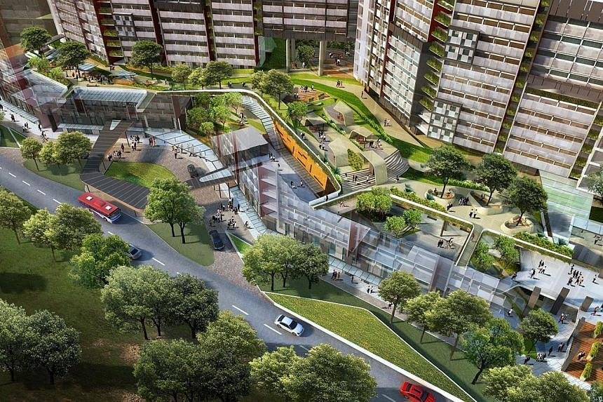 LEFT: HDB's SkyVille @ Dawson is the first public housing project to win the Platinum Universal Design Mark Award. CENTRE: An artist's impression of NTU's upcoming student hostel at North Hill. NTU plans to green all its new buildings and retrofit ex