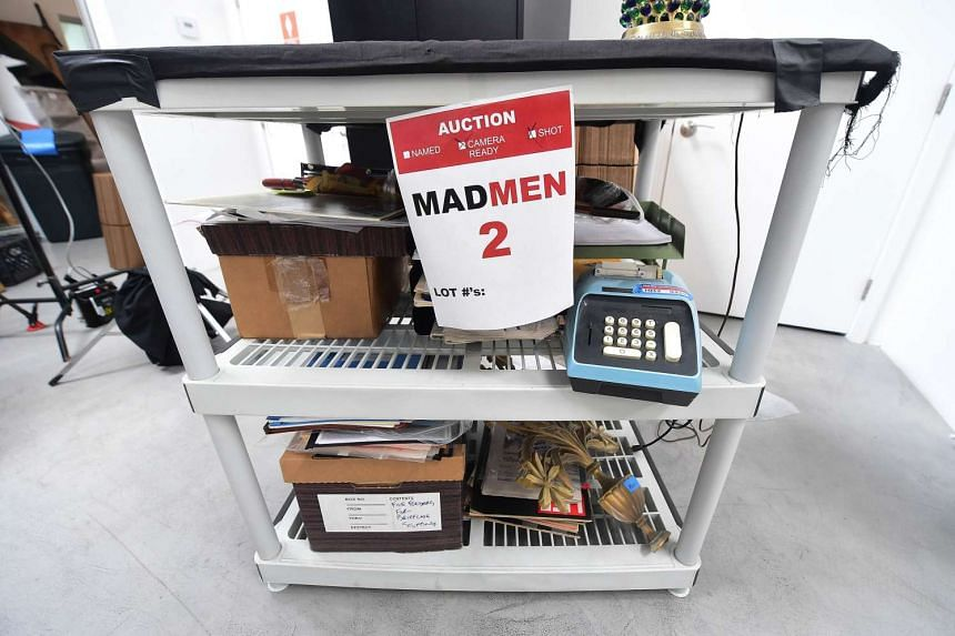 Items from the American drama series Mad Men are displayed at ScreenBid, an online auction house.