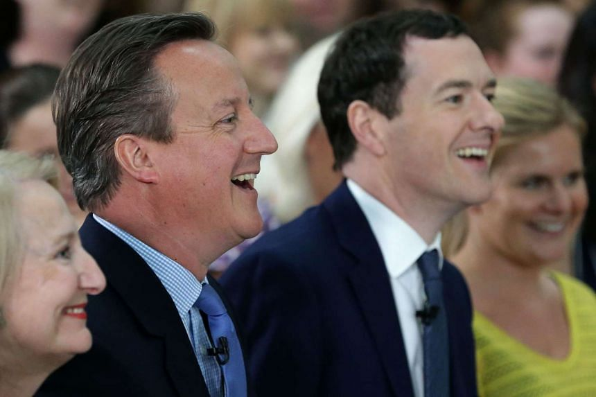 Prime Minister David Cameron (left) and Chancellor George Osborne at an EU referendum meeting on May 23, 2016.
