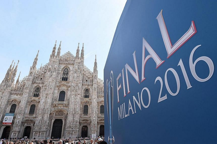 The 2016 UEFA Champions League Final logo at the Piazza Duomo in Milan, Italy, on May 26.