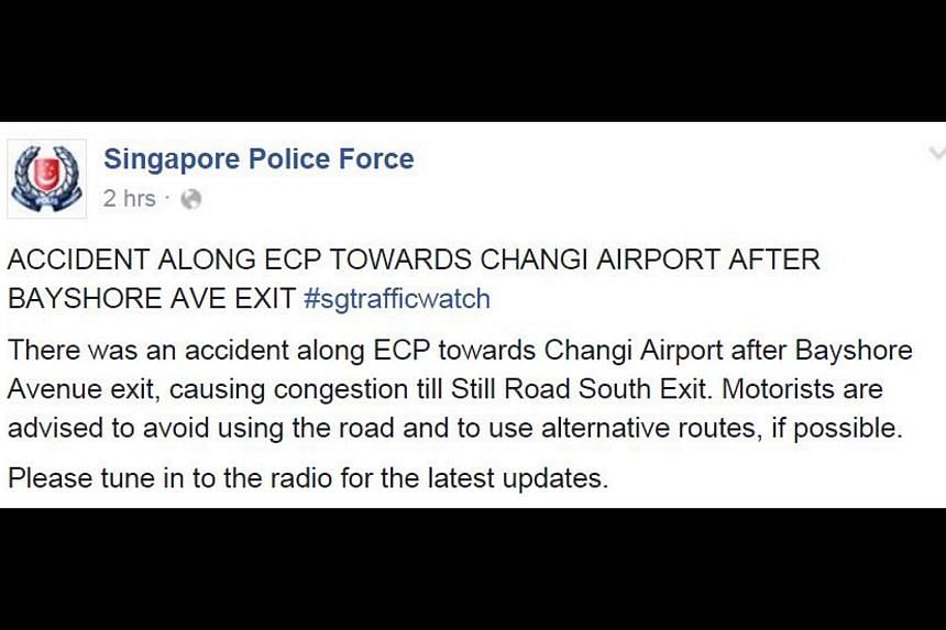 The Singapore Police Force's Facebook post about the accident.