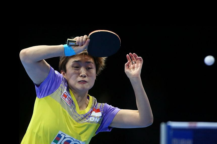 File photo of Feng Tianwei returning the ball to Tie Yana of Hong Kong during their women's singles third-fourth place table tennis match in the ITTF Nakheel Table Tennis Asian Cup, on Apr 30, 2016 in Dubai.