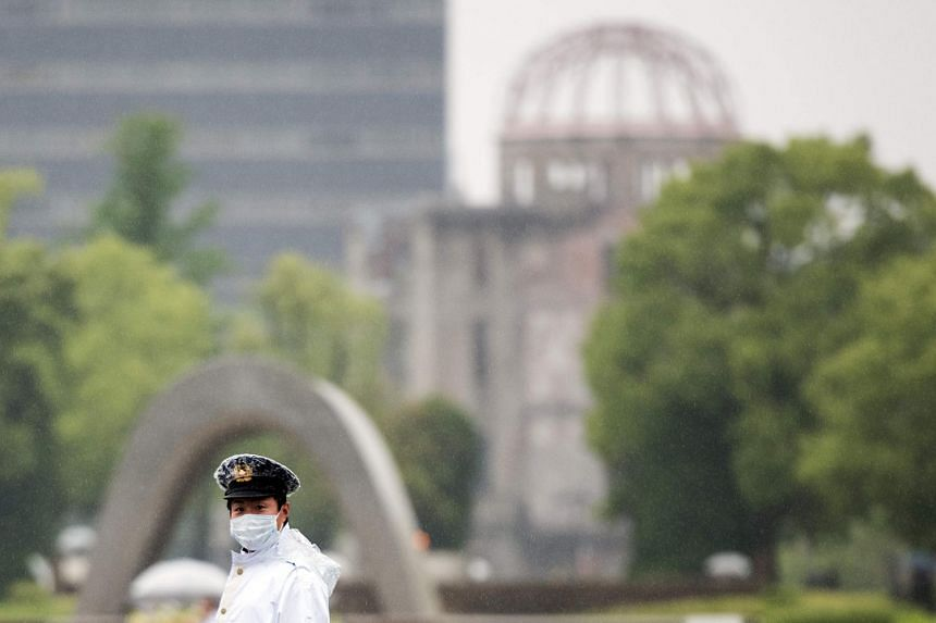 A policeman on duty at the Hiroshima Peace Memorial park on May 25.