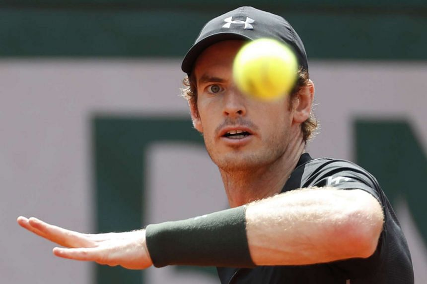 Britain's Andy Murray returning the ball to France's Mathias Bourgue at the French Open on May 25.