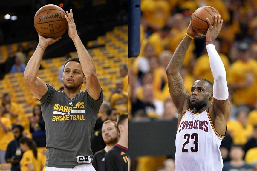 NBA MVP Stephen Curry of the Golden State Warriors (left) and Cleveland Cavaliers superstar LeBron James.