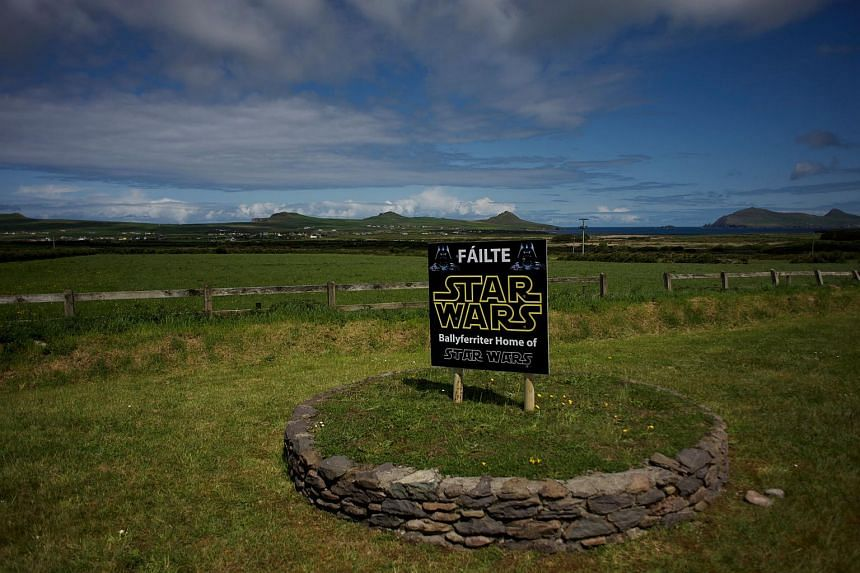 A Star Wars sign at the entrance to the town of Ballyferriter in western Ireland, on May 22.