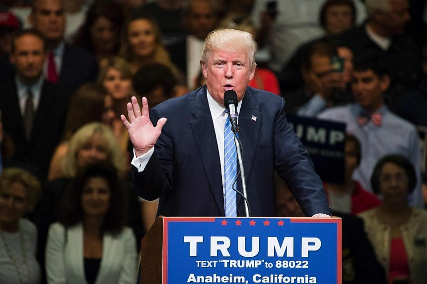 Presumptive Republican presidential candidate Donald Trump speaks at a campaign rally, May 25, 2016 in Anaheim, California.