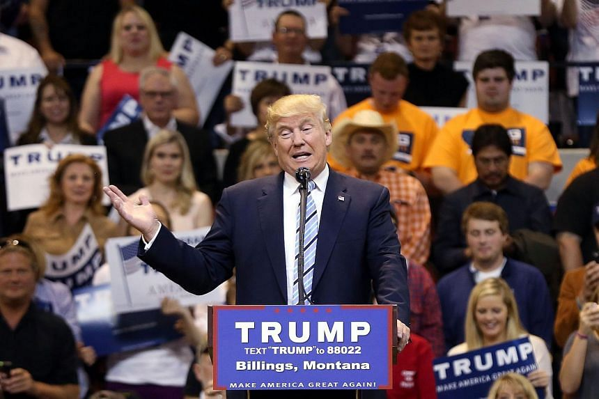 Republican presidential candidate Donald Trump speaks at a rally on May 26, 2016, in Billings, Montana.