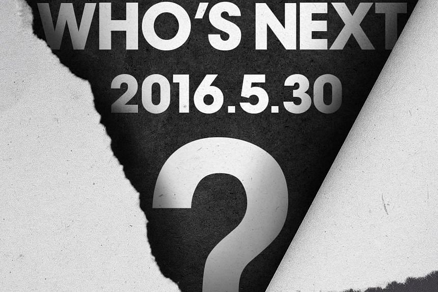 """YG Entertainment uploaded a teaser image that reads """"Who's Next? 2016.5.30"""" on its official blog."""
