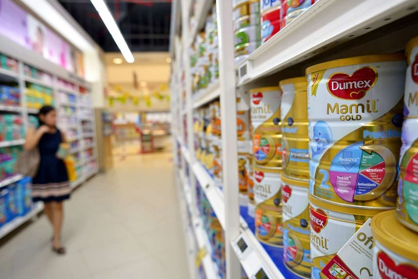 Infant milk powder on the shelves of a supermarket on Aug 5, 2013.