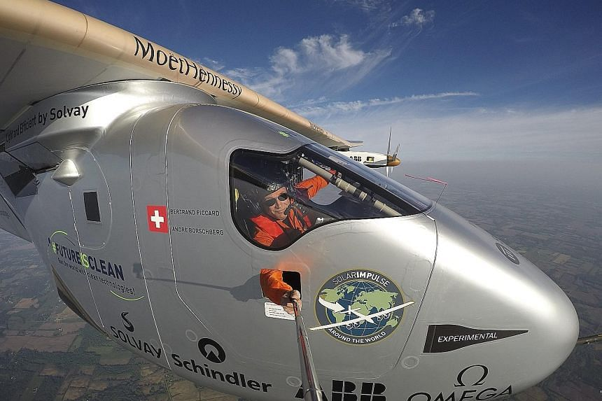Swiss adventurer and pilot Bertrand Piccard taking an extreme selfie before landing the sun-powered Solar Impulse 2 in Lehigh Valley, Pennsylvania, this week after a 17-hour flight from Ohio. The trip was the 13th leg in a quest that started in Abu D