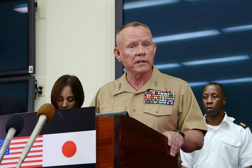 Lieutenant-General Lawrence Nicholson speaking at a press conference at Camp Foster in Okinawa on May 28.