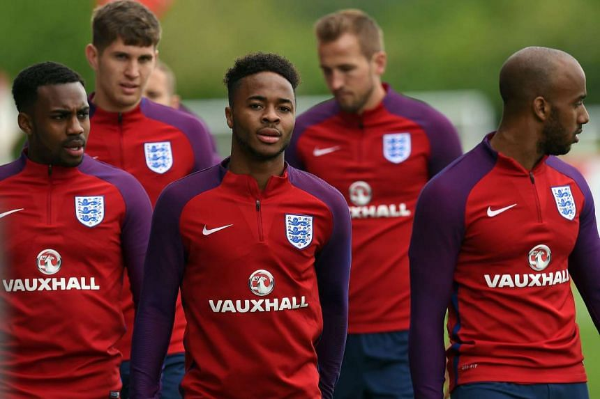 Players (from left) Danny Rose, John Stones, Raheem Sterling, Harry Kane and Fabian Delph during England team training on May 20, 2016.
