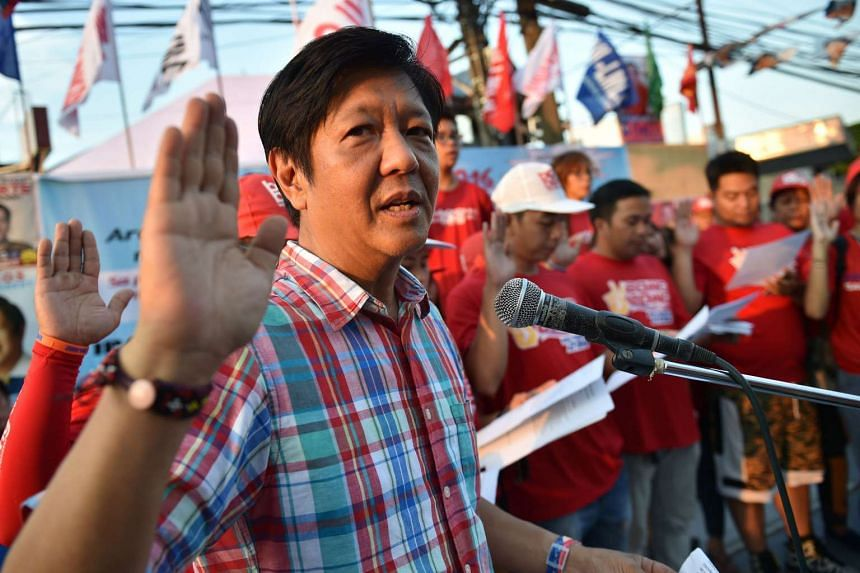Ferdinand Marcos Jr speaking to supporters at a political campaign rally in Manila, on May 1, 2016.