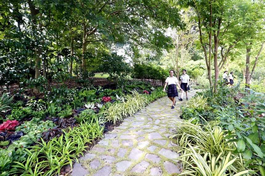 Visitors taking a stroll at the Heritage Garden on May 28, 2016.