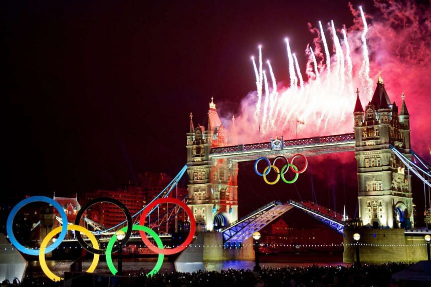 Fireworks over Tower Bridge in London during the opening ceremony of the London 2012 Olympic Games.