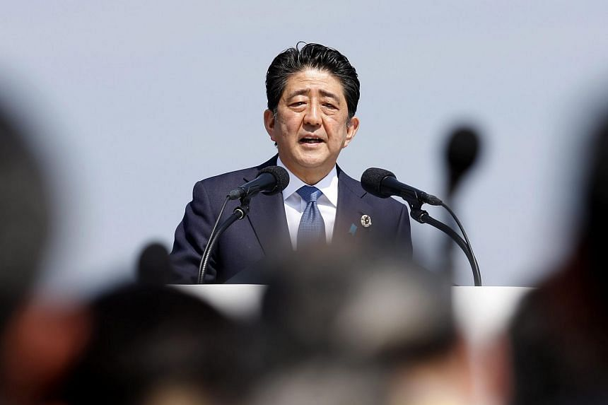 Japanese Prime Minister Shinzo Abe speaking during a press conference at the G7 Ise-Shima Summit in Shima, Japan.