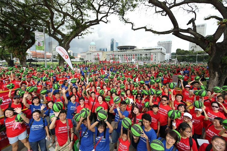 A Singapore record was set on Sunday (May 29) for the most number of people dribbling a basketball in five minutes.