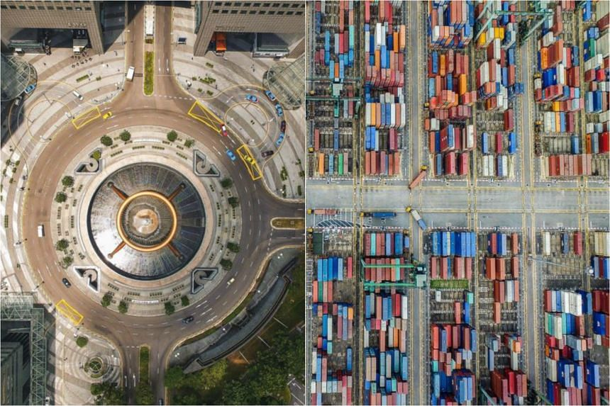 Landscape and architectural photographer Joel Chia's drone photos of Suntec City's Fountain of Wealth (left) and the PSA Container Terminal.