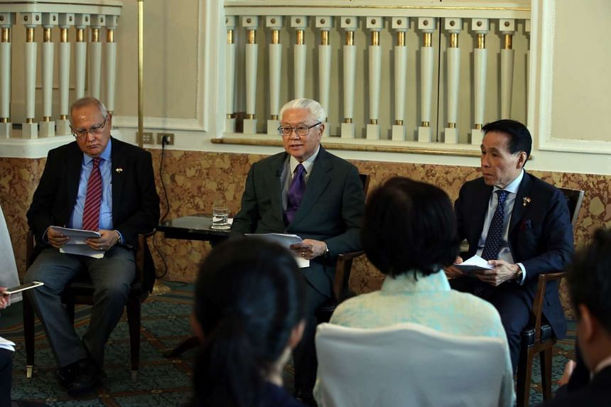 President Tony Tan Keng Yam (centre) speaking to media at the end of his eight-day state visit to Italy and the Holy See, on May 29, 2016. He is accompanied by Non-Resident Ambassador to the Holy See Barry Desker (left) and Non-Resident Ambassador to