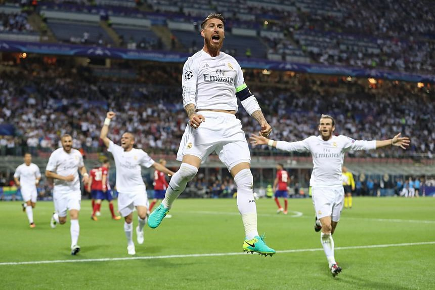 Sergio Ramos celebrates scoring the first goal for Real Madrid.