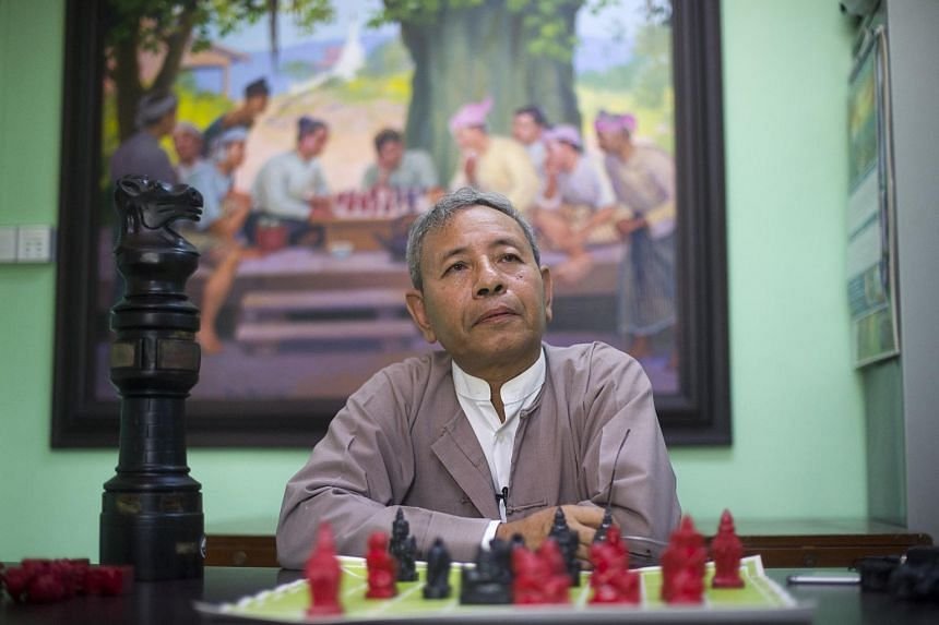 This photo taken on April 28 shows Thein Zaw, Myanmar Chess teacher and former champion posing at the Myanmar Chess Federation in Yangon.