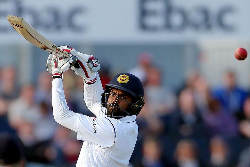 Sri Lanka's Lahiru Thirimanne plays a shot on the second day of the second test cricket match between England and Sri Lanka in Chester-Le-Street, north east England, on May 28.